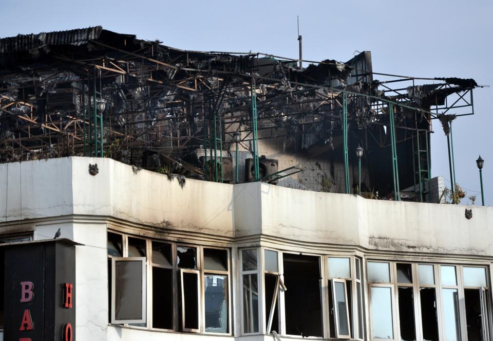 View of the hotel after a massive fire broke out at Karol Baghs Arpit Palace hotel in which at least 17 people were killed and several injured, in New Delhi on Tuesday.