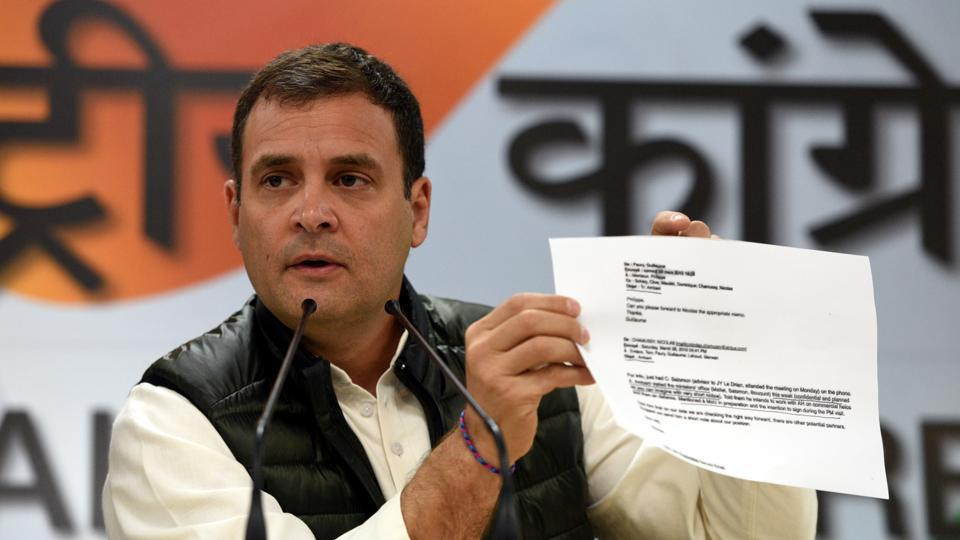 "Congress president Rahul Gandhi launched another attack on PM Narendra Modi in the Rafale deal case on Tuesday alleging that irregularities occurred on three fronts of ""compromising national security, procedural lapses and corruption"" in the multi-billion defence contract with France. (Sonu Mehta / HT Photo)"