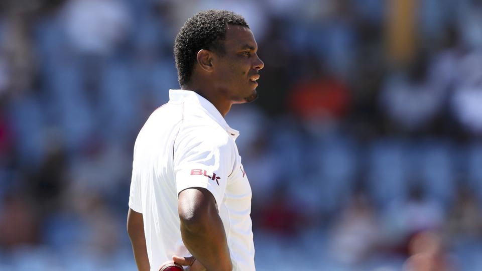 West Indies' Shannon Gabriel waits to bowl against England during day three of the third cricket Test match at the Daren Sammy Cricket Ground in Gros Islet, St. Lucia, Monday