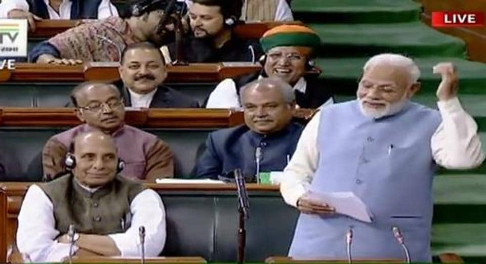 Prime Minister Narendra Modi speaks in the Lok Sabha on Wednesday.