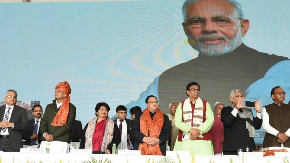 Union health minister JP Nadda (in orange stole) during the inauguration of the cancer hospital on Tuesday, Feb 12, 2019.