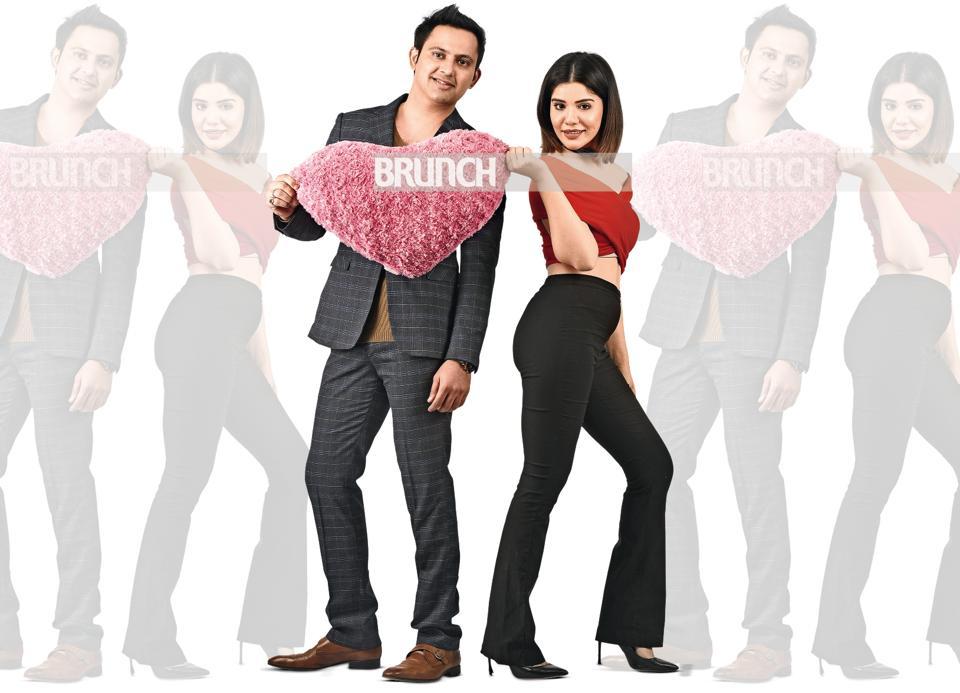 Roshni Sethi (32), YouTuber & Piyush sethi (30), real estate consultant  have spent seven Valentine's day together (On Piyush: Suit and T-shirt, Club Factory at Kunchals; shoes: Heels & Buckles.On Roshni: Top, StalkBuylove; trousers, Mango; shoes, Zara; choker, Swarovski)