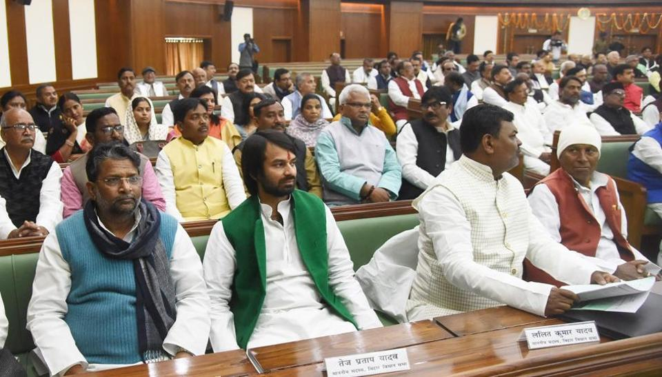 RJD leader Tej Pratap Yadav, RJD leader Lalit Kumar Yadav and other leaders on the first day of the budget session in Bihar Assembly, in Patna on Monday.