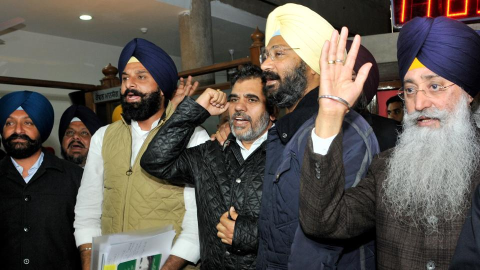 SAD leaders staged a walkout on the second day of Punjab assembly budget session in Chandigarh on Wednesday.