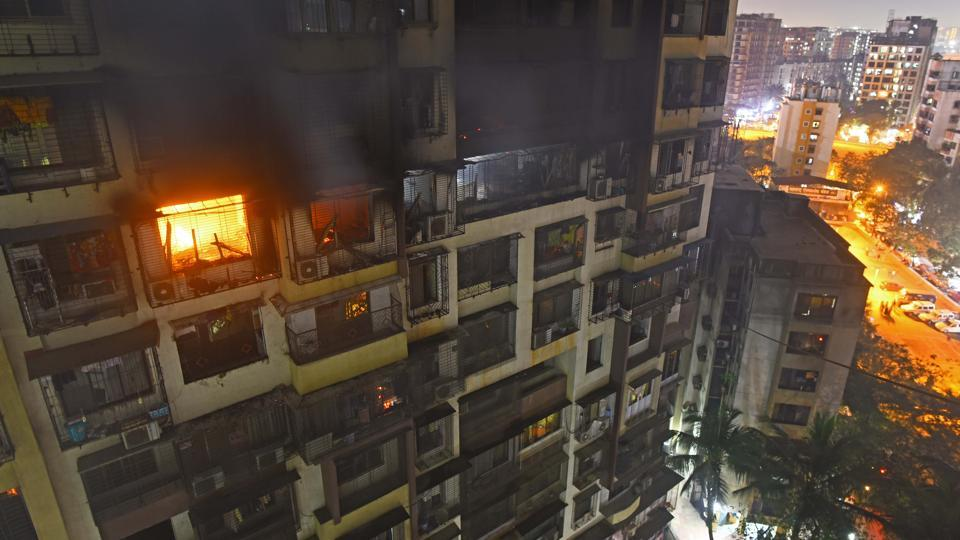 File photo of a fire in Sargam Society near Ganesh Garden in Tilak Nagar in Mumbai,  December 27, 2018.  Currently, the fire brigade has a pump that can throw water up to 30m, or nine-ten floors of a building.