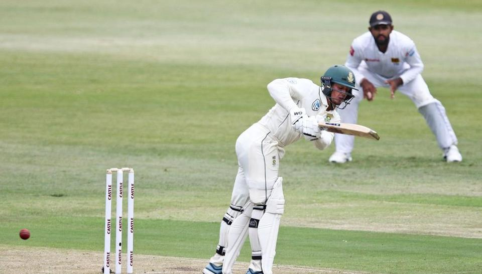 South African batsman Quinton de Kock bats the ball during day 1 of the first Test cricket match between South Africa and Sri Lanka held at the Kingsmead Stadium in Durban on February 13, 2019
