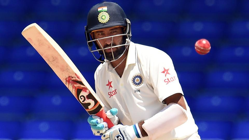 Cheteshwar Pujara plays a shot during the two-day tour match between India and WICB President's XI.