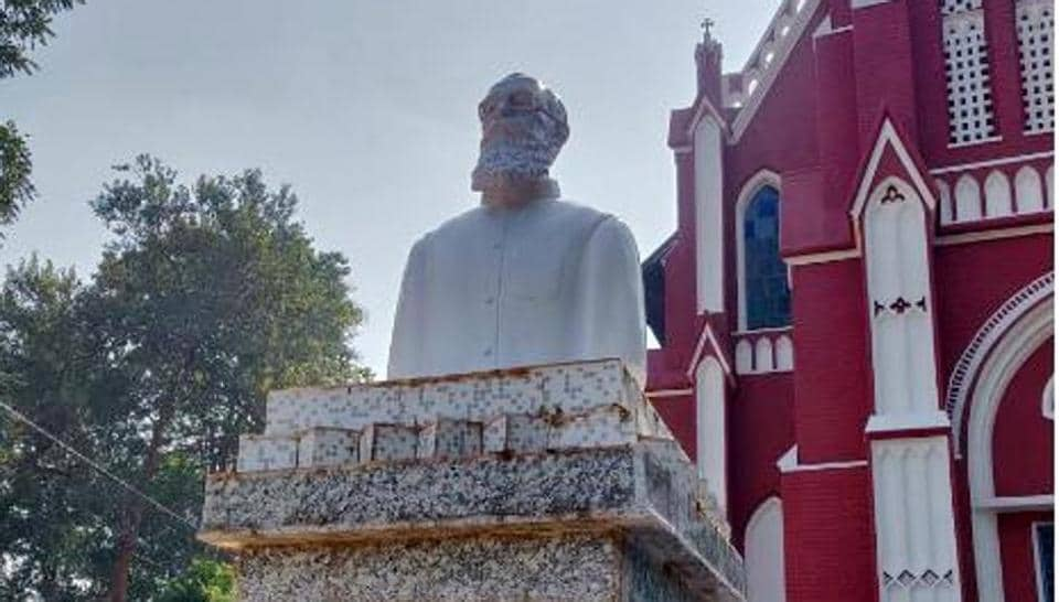 The bust of Fr. Hoffmann at a Roman Catholic Church in Sarwada village in Khunti,Jharkhand , is at the centre of a controversy between the state BJP and christian missionaries.