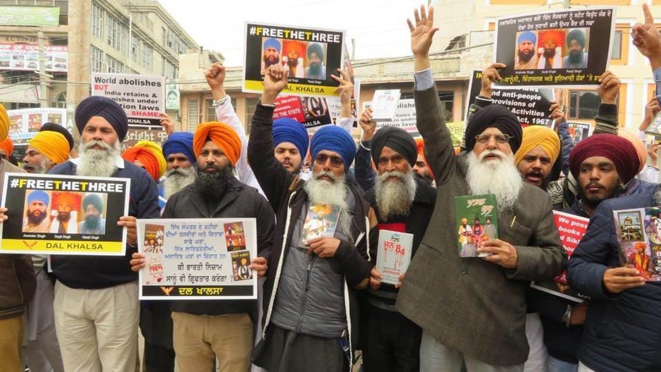 Members of Dal Khalsa protesting out side court complex in Nawanshahr in Punjab on Wednesday