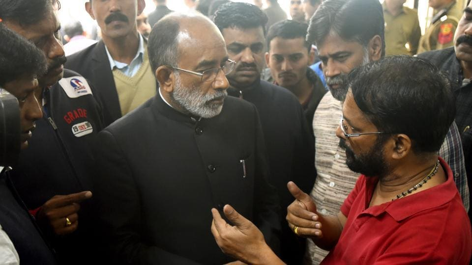 Tourism Minister Alphons Kannanthanam meets the family members of victims who died in Hotel Arpit Palace fire accident at Ram Manohar Lohia (RML) Hospital in New Delhi,  on Tuesday, February 12, 2019.