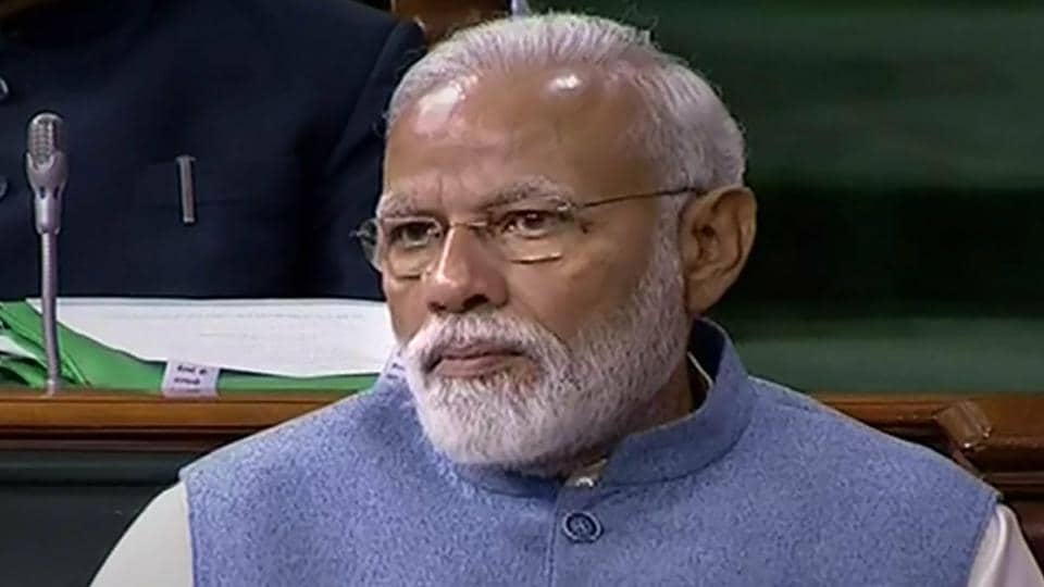 Prime Minister Narendra Modi in the Lok Sabha on the last day of Budget Session of Parliament.