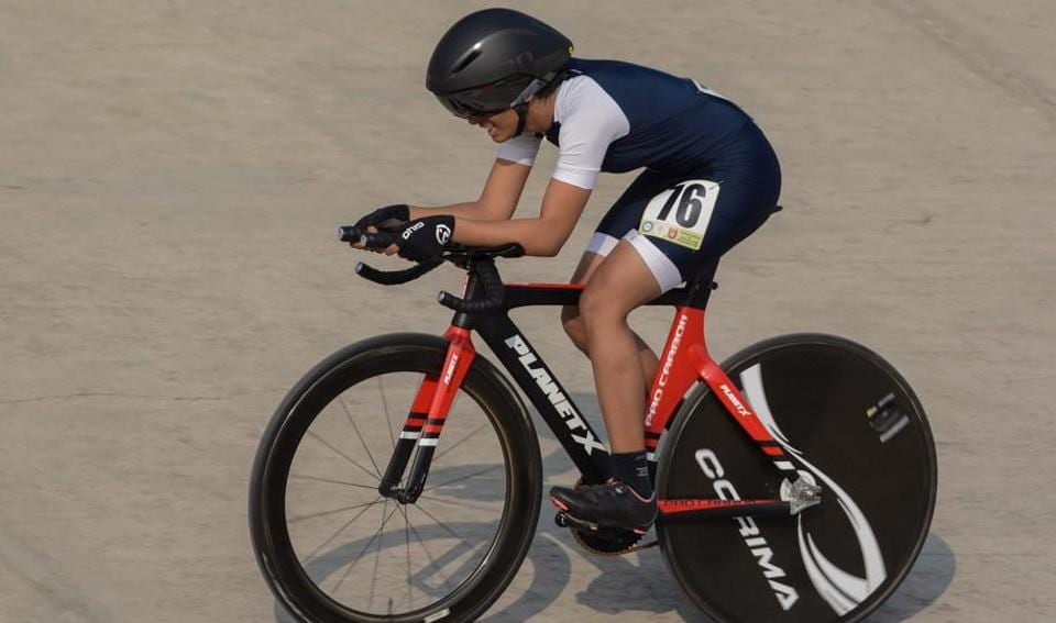 Anjali Ranawade in action during the girls under-17 2-km individual pursuit at 64th national school games being held at Shiv Chhatrapati sports complex, Balewadi on Wednesday.