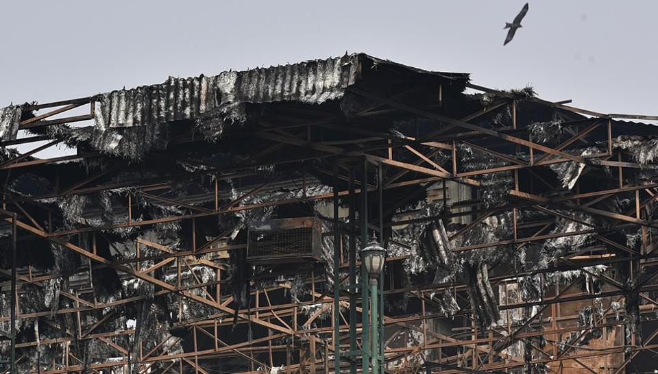 The damaged rooftop of Hotel Arpit Palace in Karol Bagh  where a massive fire broke on Feb 12, 2019.