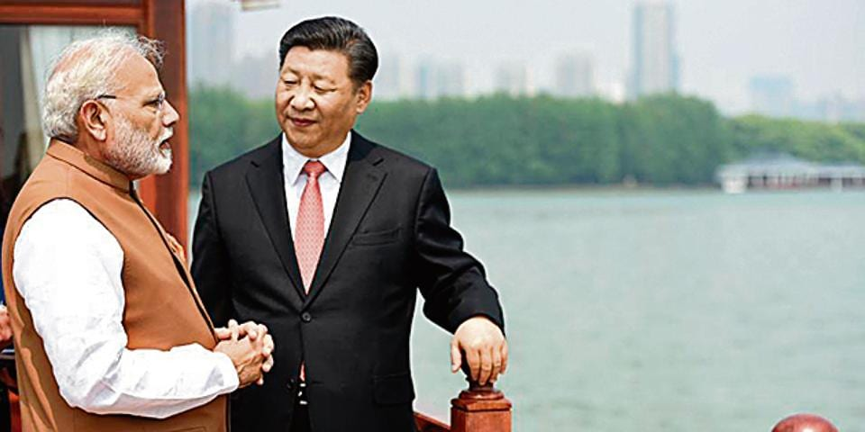 Prime Minister Narendra Modi and President of the People's Republic of China, Xi Jinping in a house boat, Wuhan, China, April 28, 2018