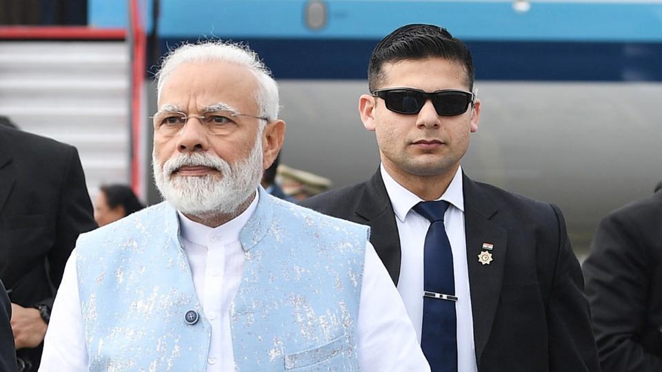 Prime Minister Narendra Modi arrives at Lilabari Airport, in Assam.