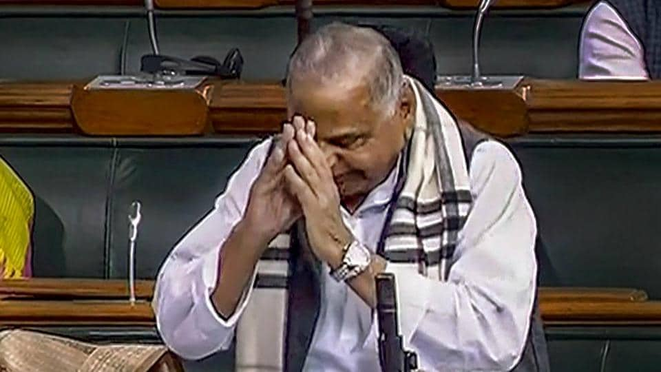 Samajwadi Party member Mulayam Singh Yadav gestures during his speech in the Lok Sabha on the last day of the Budget Session of Parliament, in New Delhi on February 13.