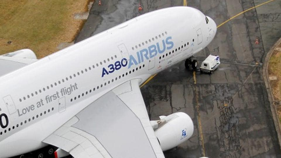 An Airbus A380, the world's largest jetliner with a wingspan of almost 80 metres, is seen on the tarmac during the Paris Air Show in Le Bourget airport, near Paris.