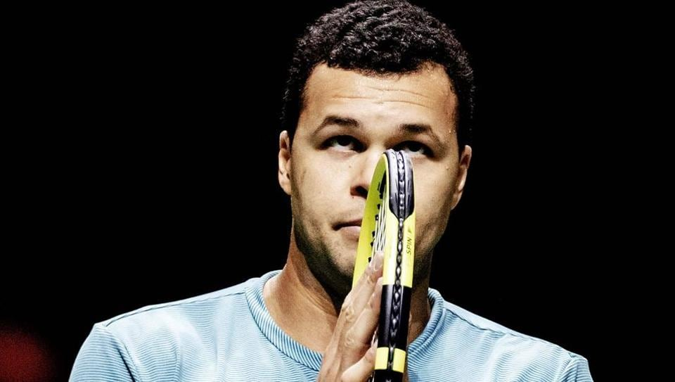 France's Jo-Wilfried Tsonga gestures after victory in his men's singles match against Netherlands' Tallon Griekspoor on day four of the 46th edition of the ABN AMRO World Tennis Tournament in Rotterdam on February 14, 2019