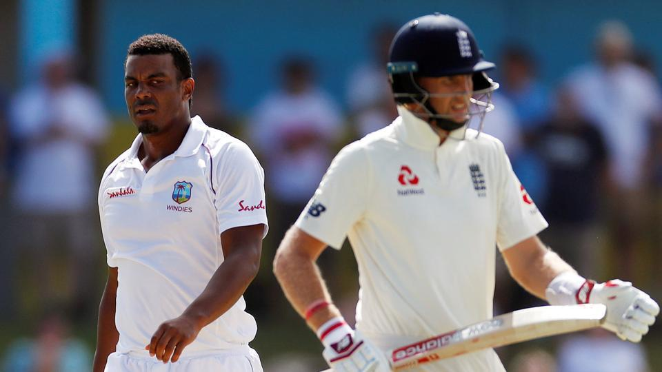West Indies' Shannon Gabriel with England's Joe Root