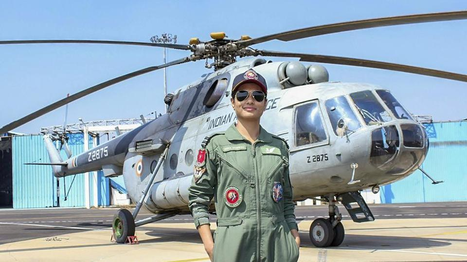 Flight Lieutenant Hina Jaiswal who is the first woman flight engineer inducted by the Indian Air Force after she successfully completed the course at 112 Helicopter Unit, Air Force Station, Yelahanka, Bengaluru.