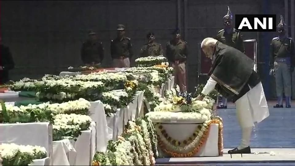 PM Modi placed a wreath on a platform placed before the coffins carrying the mortal remains of the troopers.