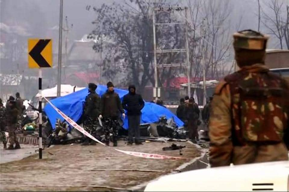 Central Reserve Police Force (CRPF) vehicle damaged during the Pulwama attack, Feb 14
