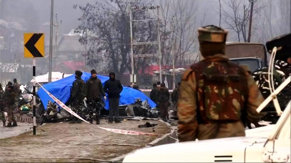 Central Reserve Police Force (CRPF) vehicle damaged during Improvised explosive device (IED) blast in Awantipora, Pulwama near Srinagar on Thursday.