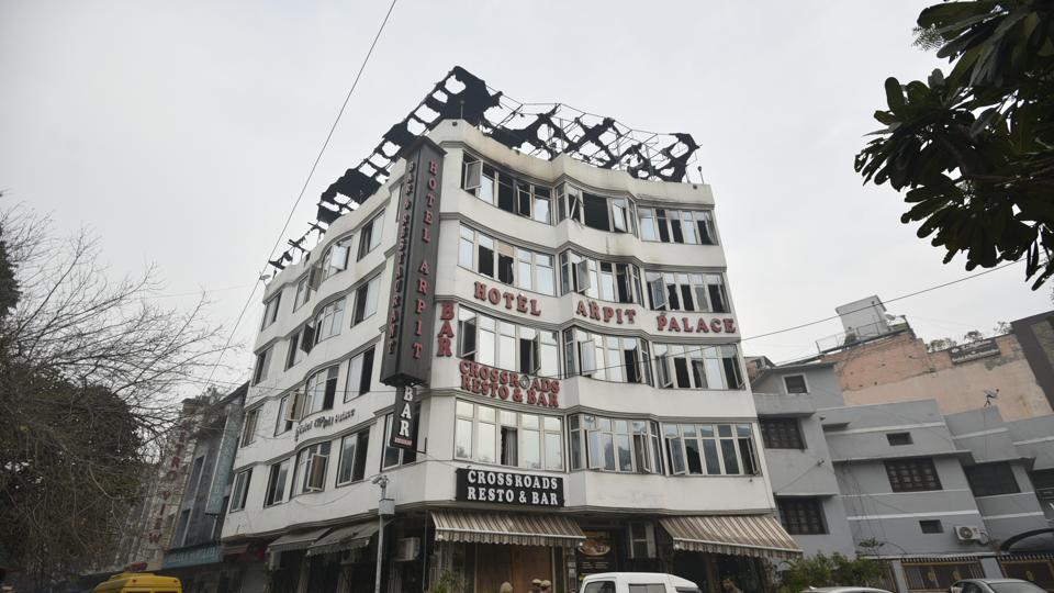 A view of the Hotel Arpit Palace where a massive fire broke out at Karol Bagh in which 17 people were killed.