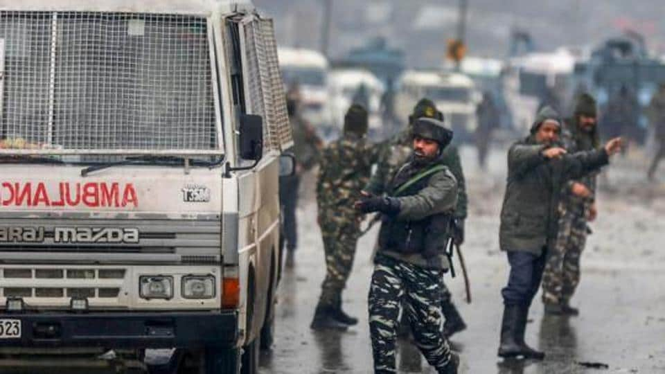 Lathepora: Army soldiers at the site of suicide bomb attack at Lathepora Awantipora in Pulwama district of south Kashmir, Thursday, February 14, 2019. At least 30 CRPF jawans were killed and dozens other injured when a CRPF convoy was attacked. (PTI Photo/S Irfan) (PTI2_14_2019_000168A)