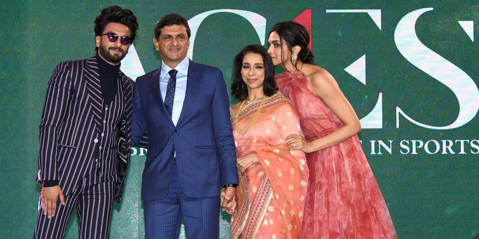 Former badminton player Prakash Padukone with his wife Ujjala Padukone, daughter Deepika Padukone and son-in-law Ranveer Singh after he was honoured with the Lifetime Achievement Award of Sportstar Aces, at a function in Mumbai, Thursday, Feb 14, 2019.