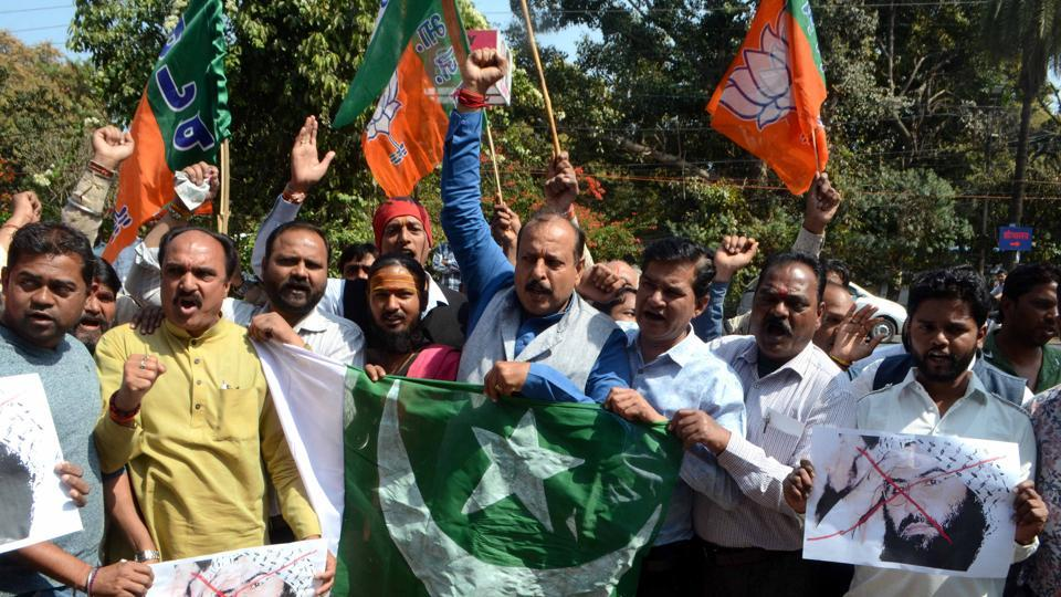 BJP activists hold protest against Pakistan and terrorist outfit Jaish-e-Mohammed founder Masood Azhar over the Pulwama terror attack in Bhopal.