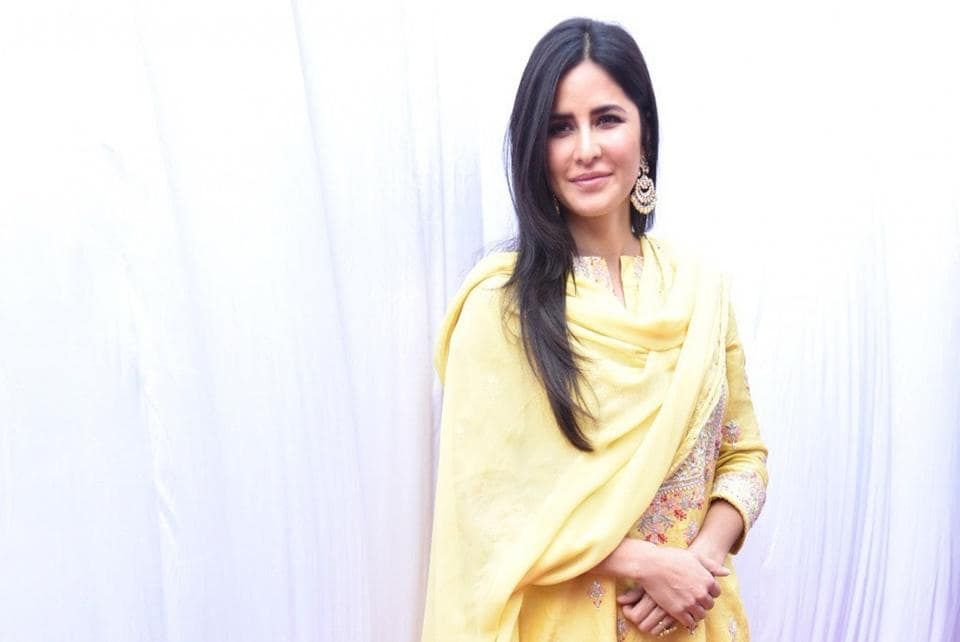 Katrina Kaif during Saraswati Puja at filmmaker Anurag Basu's house in Mumbai on Feb 10, 2019.
