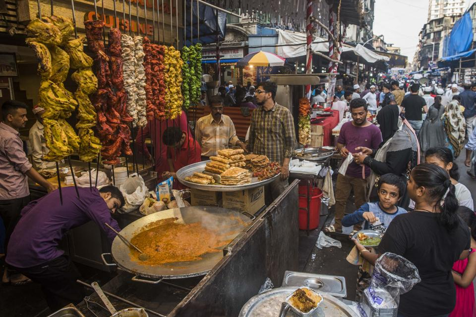 On the Khaki Tours food walk in Bhendi Bazaar, Mumbai, stops include the mausoleum of the Syednas, the spiritual head of the Bohri community, as well as street-side eateries serving up everything from tiranga kebabs (above) to patrel biryani, a dish where colocasia leaves replace rice.