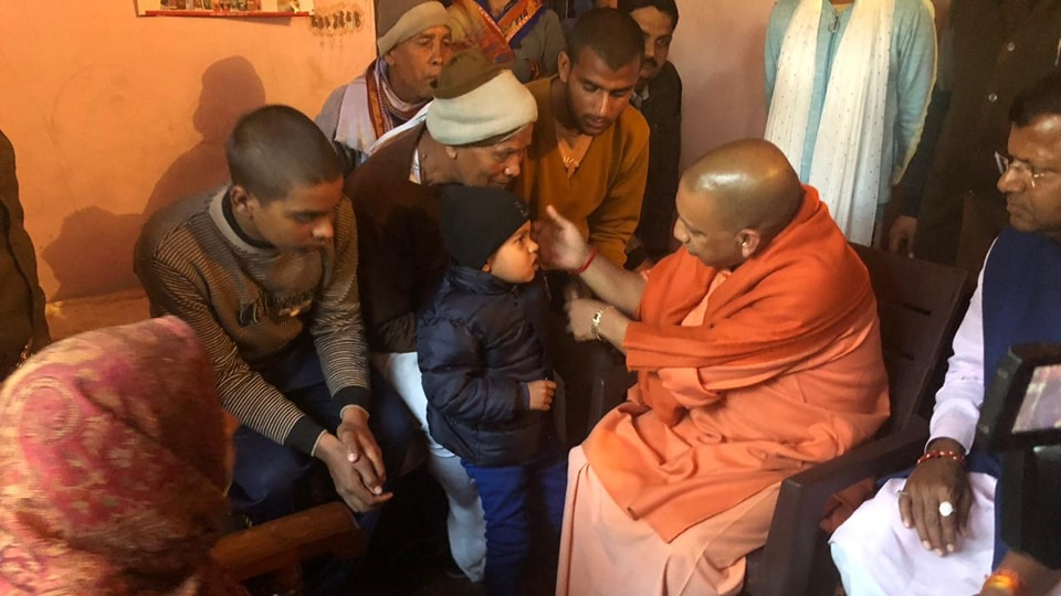 Yogi Adityanath paid tributes to CRPF constable Pankaj Tripathi and assured his family that their demands would be fulfilled.