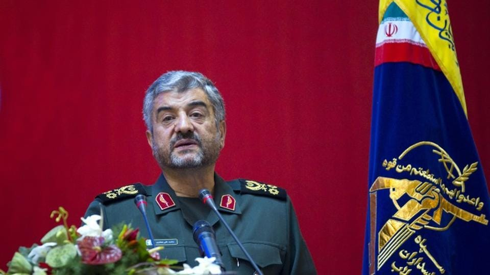 Iran's Revolutionary guards commander Mohammad Ali Jafari speaks during a conference.