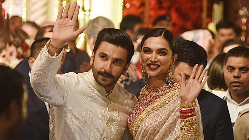 Ranveer Singh and Deepika Padukone attend the wedding of Indian businesswoman Isha Ambani with Indian businessman Anand Piramal in Mumbai on December 12, 2018.