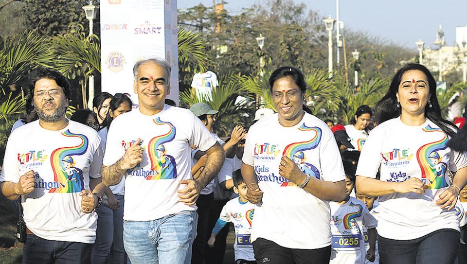 (From left) Sajid Ali, vice-president, Little Millennium pre-school; Raman Bajaj, CEO, Educomp Childcare Private Limited; PT Usha, retired Indian track and field athlete and Manjit Legha, academic director, Little Millennium pre-school in action during the second edition of the kids marathon at Taljai cricket ground, Sahakarnagar on February 17.