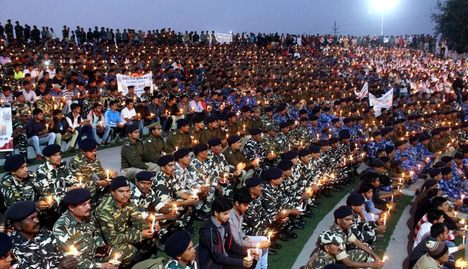Central Security Forces personnel in Bhopal lit candles to pay tribute to the jawans killed in Pulwama terror attack, February 16. A telling response is required, particularly now when the forces behind Pulwama attack are gaining strength in our neighbourhood