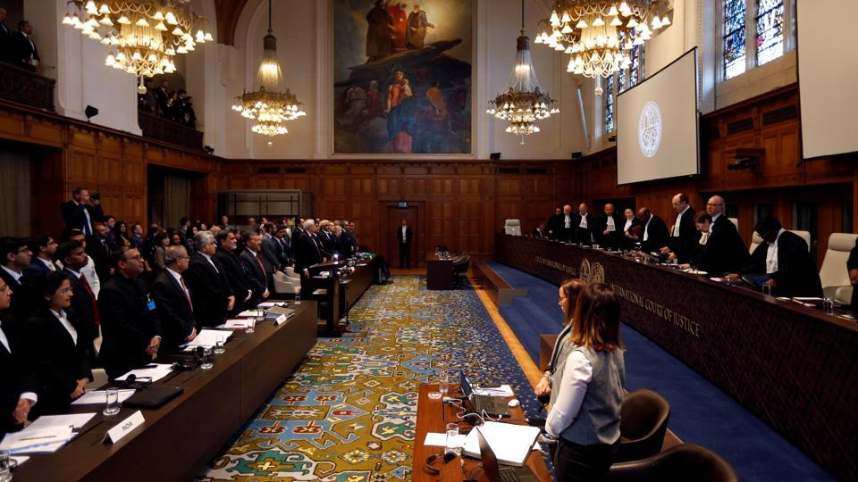 The International Court of Justice commenced oral hearing on Indian national Kulbhushan Jadhav at The Hague. India is likely to ask the top UN court to direct Pakistan to revoke the death sentence awarded to Jadhav for the allegations of espionage. India, during the first day of the hearing, based its case on two broad issues -- breach of article 36 of the Vienna Convention on consular access and the process of resolution. (Eva Plevier / REUTERS)