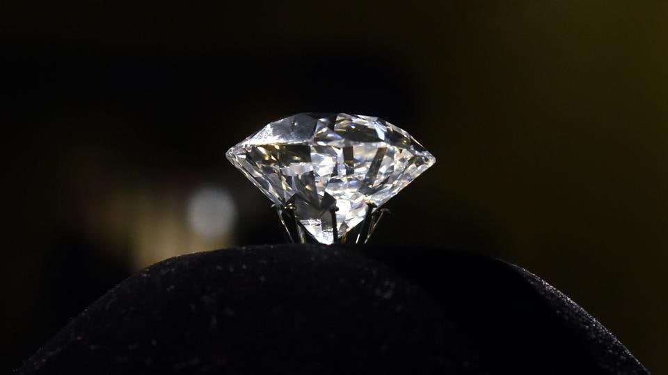 The 185-carat Jacob diamond, one of the world's largest by size on display at the National Museum in New Delhi.