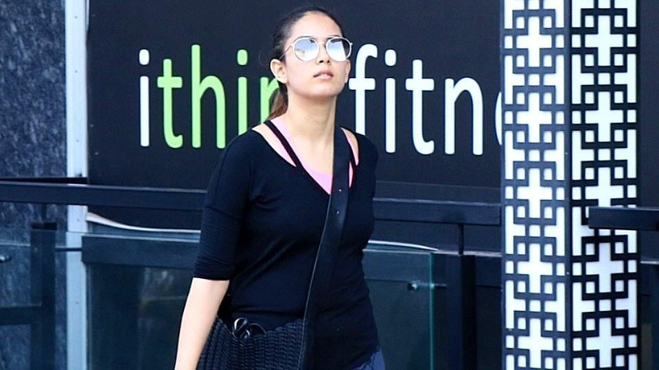 Mira Rajput heads home after a workout session in Mumbai. Her look will work just as well inside the gym, as it will outside it.  (All photos: Varinder Chawla)