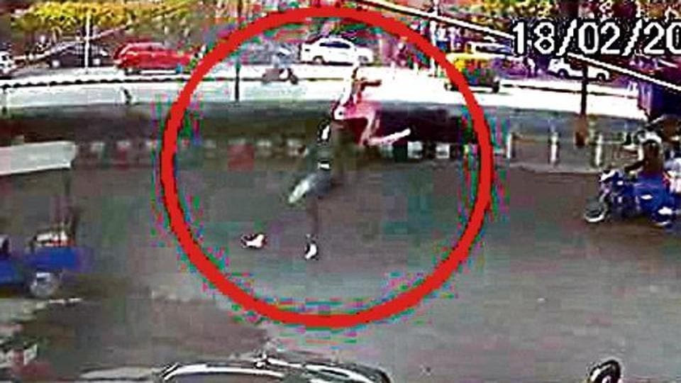 CCTV cameras installed outside stores on the road below the Vikaspuri flyover captured the woman's fall.