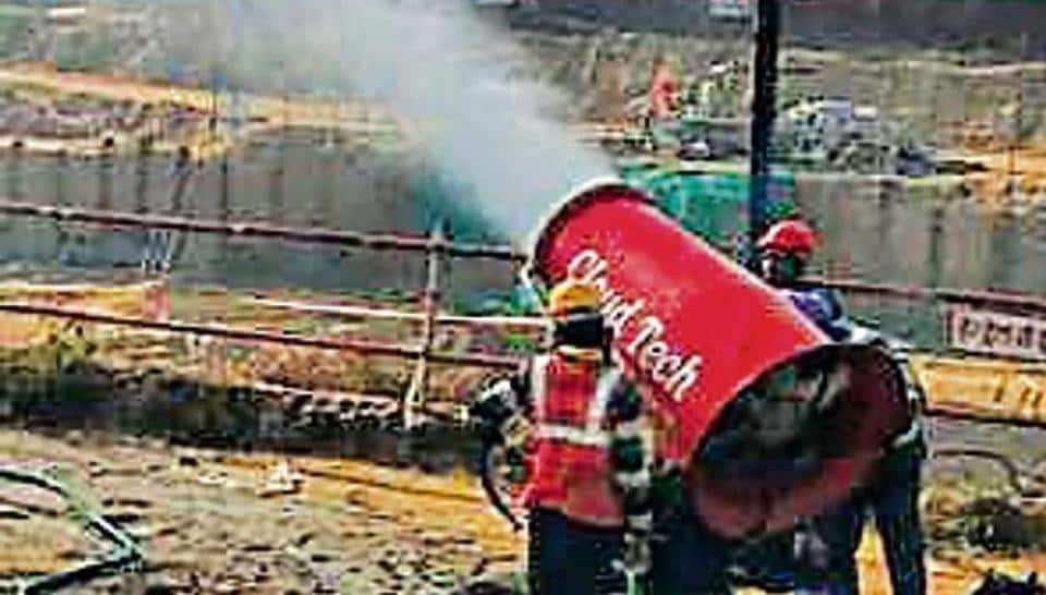 The dust suppression machine has been installed at a construction site in Dwarka Sector 25.
