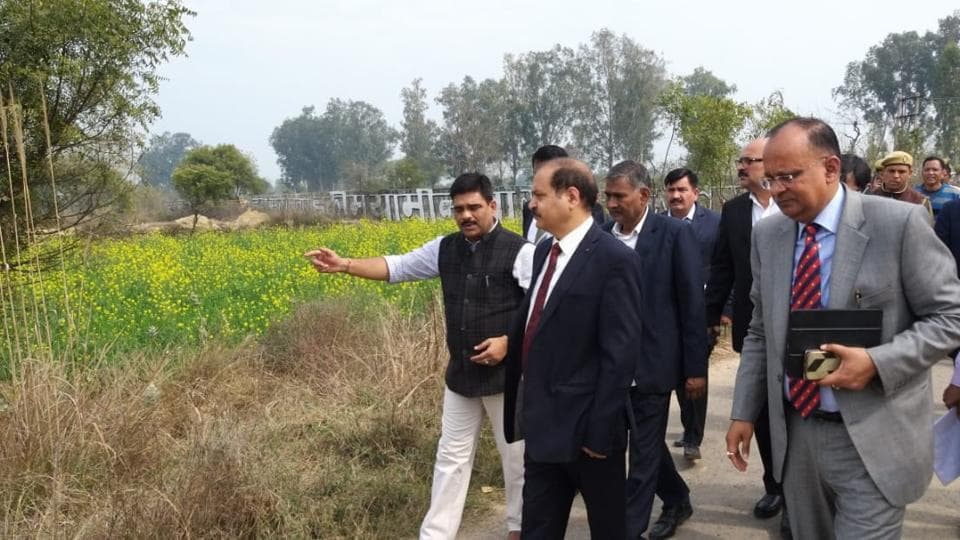 Pravir Kumar, chairman of UPrevenue board, along with other officials, inspected the project site of Jewar airport on Monday, Feb 19, 2019.