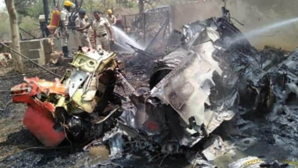 The debris of one of the two Surya Kiran planes that crashed at Yelahanka air base in Bengaluru today.