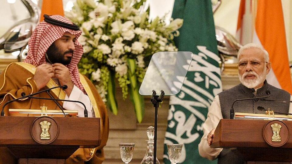 Prime Minister Narender Modi with Saudi Crown Prince Mohammed bin Salman during a joint press conference at Hyderabad House in New Delhi.