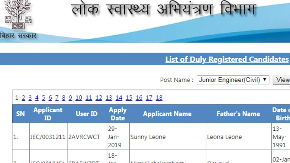 A candidates named Sunny Leone has applied for junior engineer recruitment, PHED Bihar.