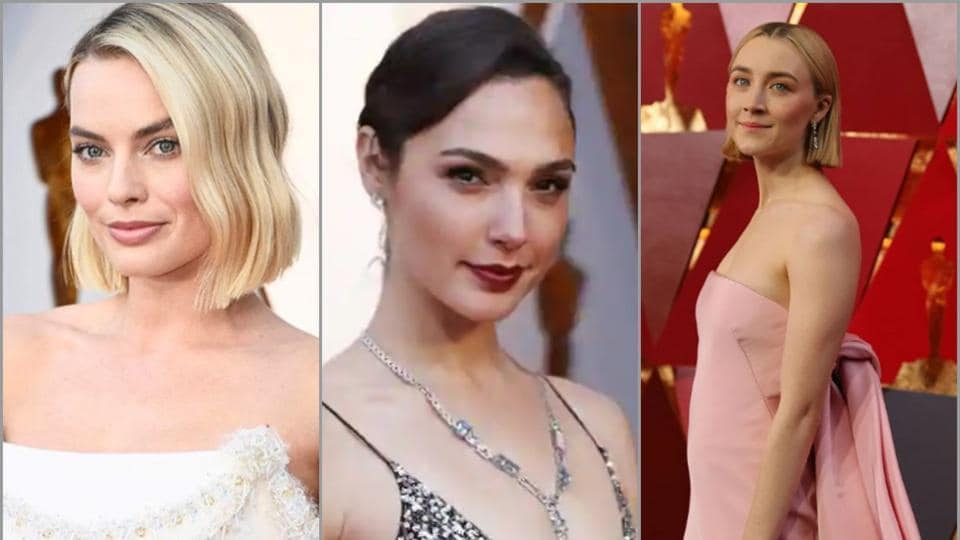 Margot Robbie, Gal Gadot and Saoirse Ronan at the Oscars red carpet 2018