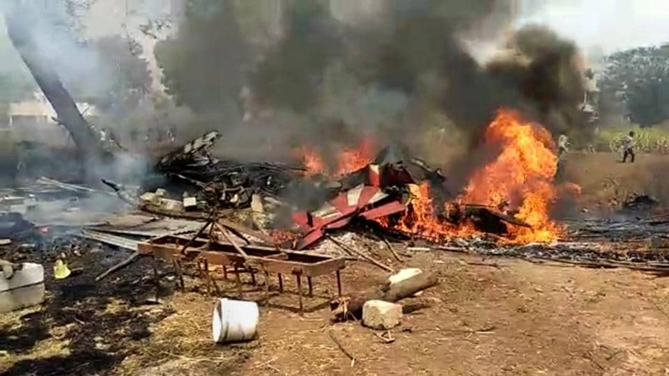 A still from a video footage shows an aircraft in flames after two aircrafts of IAF's aerobatic team Surya Kiran crashed near the Yelahanka airbase in Bengaluru, Feb 19, 2019