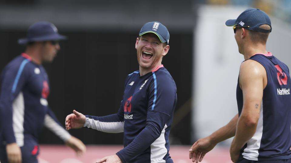 England's cricket team captain Eoin Morgan jokes with teammates during a training session at the Kensington Oval in Bridgetown, Barbados, on Tuesday.